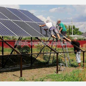 Монтаж солнечных панелей.