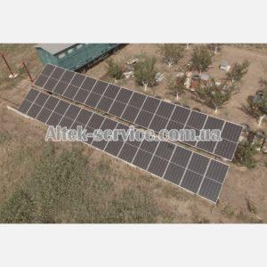 Солнечная станция 12 кВт. Наземная конструкция. Вид сбоку.