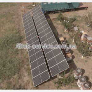 Солнечная станция 12 кВт. Наземная конструкция. Вид с правой стороны.