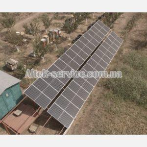 Солнечная станция 12 кВт. Наземная конструкция. Вид с левой стороны.