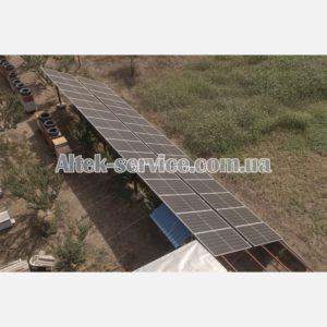 Солнечная станция 12 кВт. Наземная конструкция. Вид сзади.