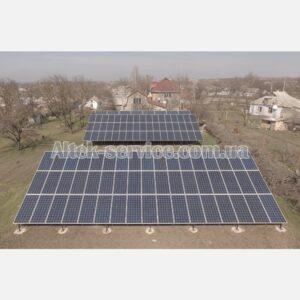 Солнечная станция 36.8  кВт. Наземная конструкция. Общий вид. Фасад.
