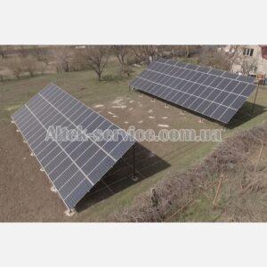 Солнечная станция 36.8 кВт. Наземная конструкция. Ракурс 1, с правой стороны.
