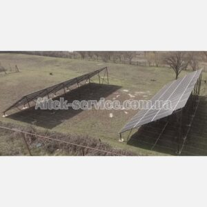 Солнечная станция 36.8 кВт. Наземная конструкция. Ракурс 2, с правой стороны.