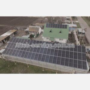 Солнечная станция 39 кВт. Ракурс сверху с правой стороны.